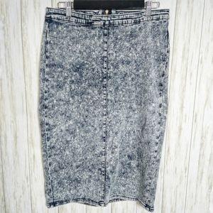 Iris Jeans   Acid Wash Denim Pencil Skirt